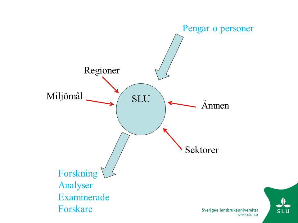 Sveriges lantbruksuniversitet www.slu.se Styrelse rektor Fakultetsnämnd dekan Institutioner