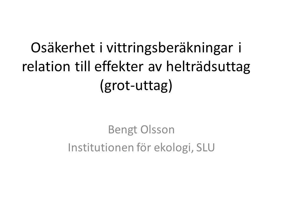 Osäkerhet i vittringsberäkningar i relation till effekter av helträdsuttag (grot-uttag) Bengt Olsson Institutionen för ekologi, SLU
