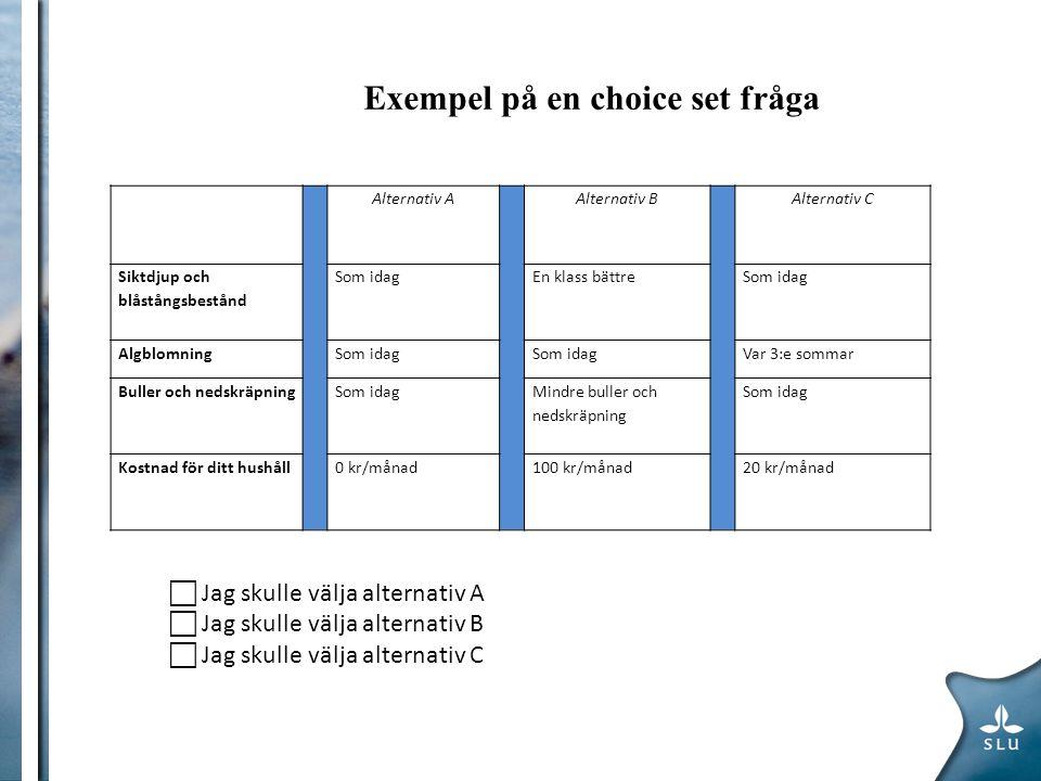 Exempel på en choice set fråga Alternativ AAlternativ BAlternativ C Siktdjup och blåstångsbestånd Som idagEn klass bättreSom idag AlgblomningSom idag