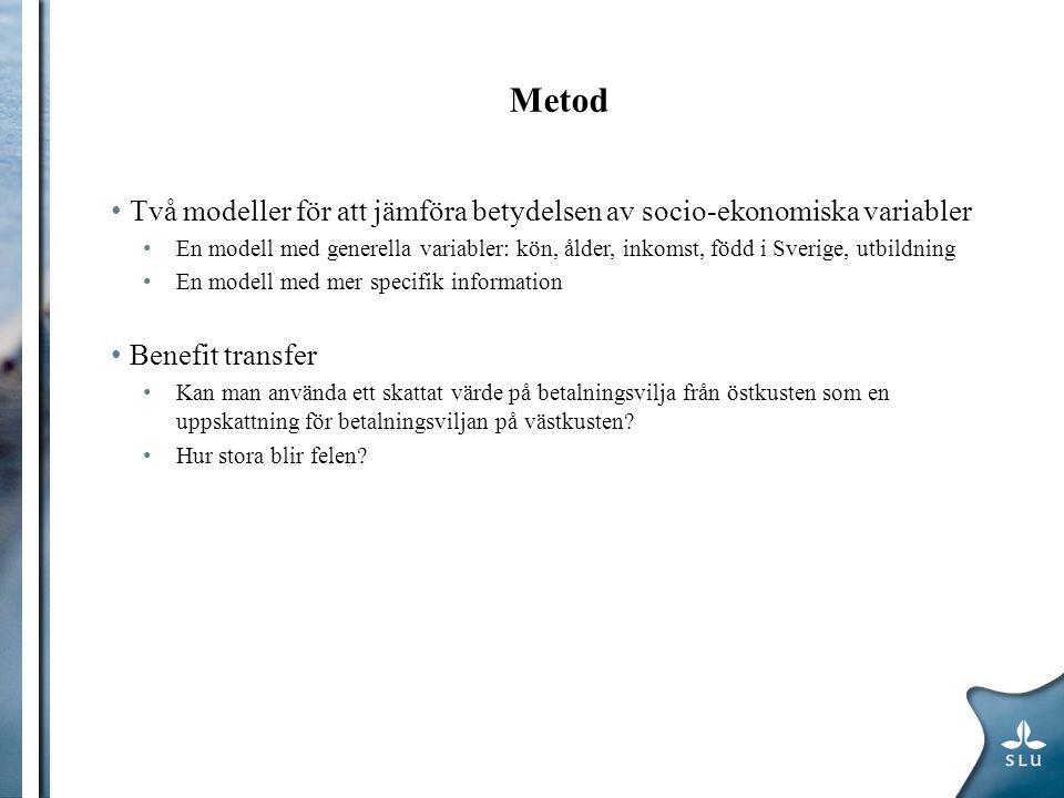 Metod Två modeller för att jämföra betydelsen av socio-ekonomiska variabler En modell med generella variabler: kön, ålder, inkomst, född i Sverige, ut