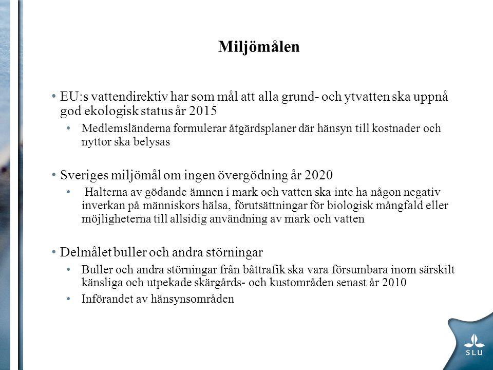 Miljömålen EU:s vattendirektiv har som mål att alla grund- och ytvatten ska uppnå god ekologisk status år 2015 Medlemsländerna formulerar åtgärdsplaner där hänsyn till kostnader och nyttor ska belysas Sveriges miljömål om ingen övergödning år 2020 Halterna av gödande ämnen i mark och vatten ska inte ha någon negativ inverkan på människors hälsa, förutsättningar för biologisk mångfald eller möjligheterna till allsidig användning av mark och vatten Delmålet buller och andra störningar Buller och andra störningar från båttrafik ska vara försumbara inom särskilt känsliga och utpekade skärgårds- och kustområden senast år 2010 Införandet av hänsynsområden