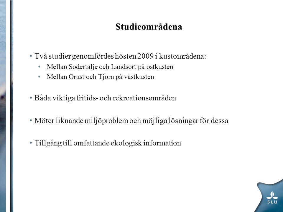Studieområdena Två studier genomfördes hösten 2009 i kustområdena: Mellan Södertälje och Landsort på östkusten Mellan Orust och Tjörn på västkusten Bå