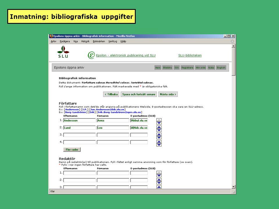 Inmatning: bibliografiska uppgifter