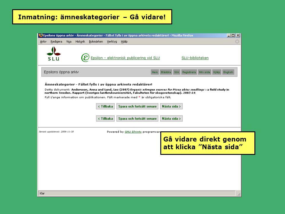 """Inmatning: ämneskategorier – Gå vidare! Gå vidare direkt genom att klicka """"Nästa sida"""""""