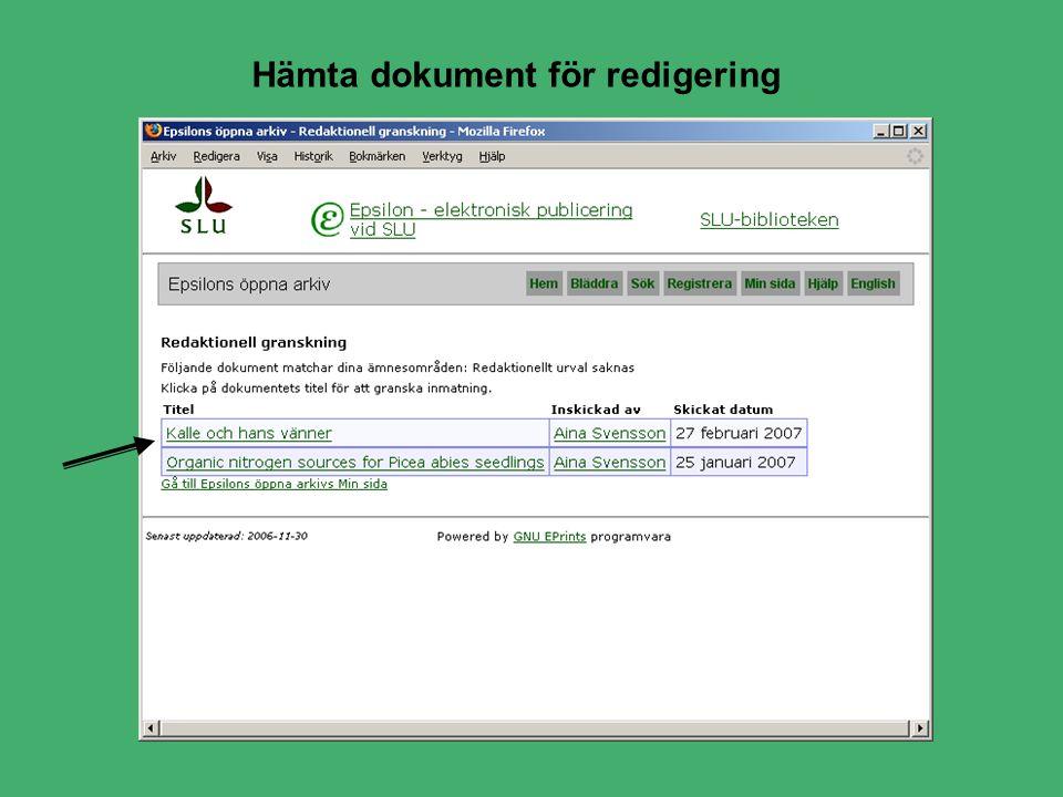 Hämta dokument för redigering