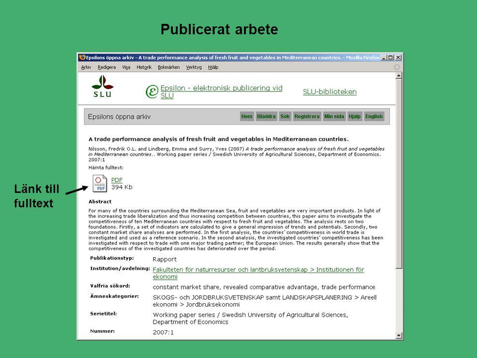 Publicerat arbete Länk till fulltext
