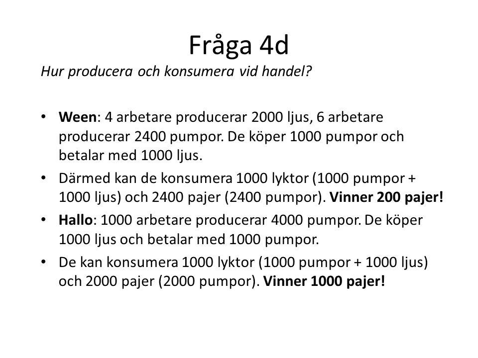Fråga 4d Hur producera och konsumera vid handel.