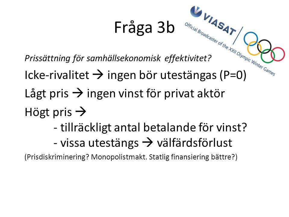 Fråga 3b Prissättning för samhällsekonomisk effektivitet.