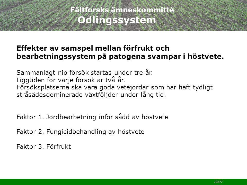 2007 SLF-ansökan okt 2007: Energigrödors effektivitet i odlingssystemet Syftet är att jämföra annuella grödor som bedömts potentiellt lämpliga för energiproduktion med perenna vid olika näringsnivåer med avseende på energiproduktion, nettoenergi-, kol-, kväve- och fosforutbyte.