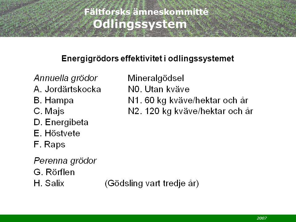 2007 Fältforsks ämneskommitté Odlingssystem Energigrödors effektivitet i odlingssystemet