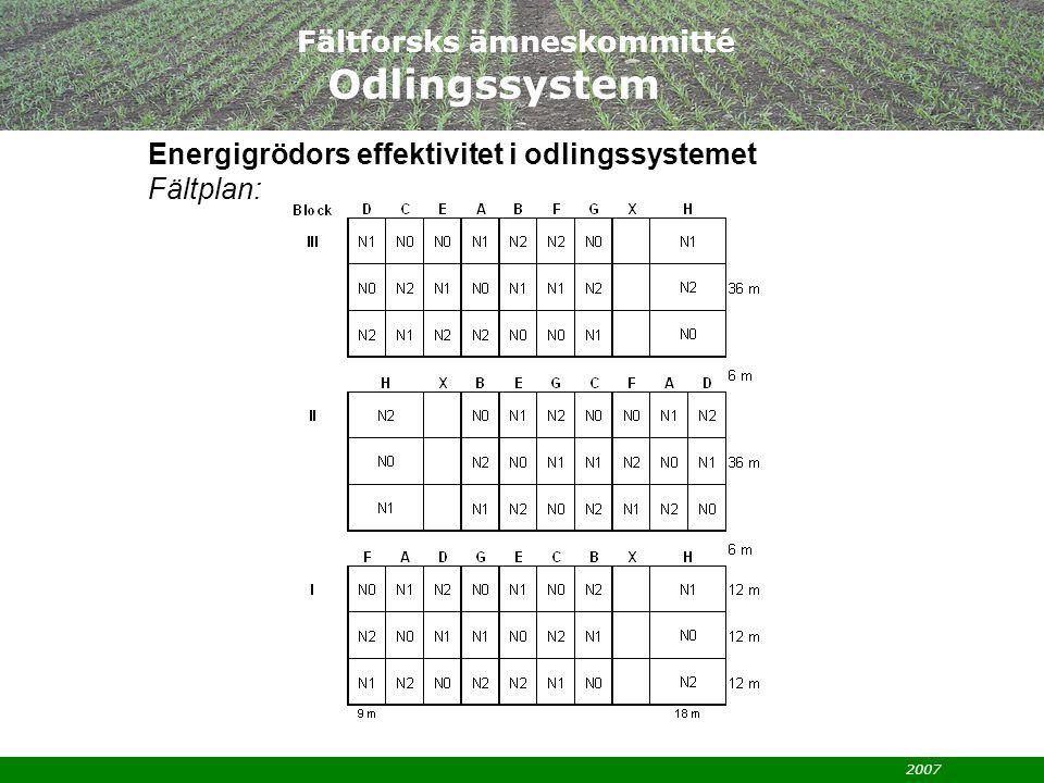 2007 Fältforsks ämneskommitté Odlingssystem Energigrödors effektivitet i odlingssystemet Fältplan: