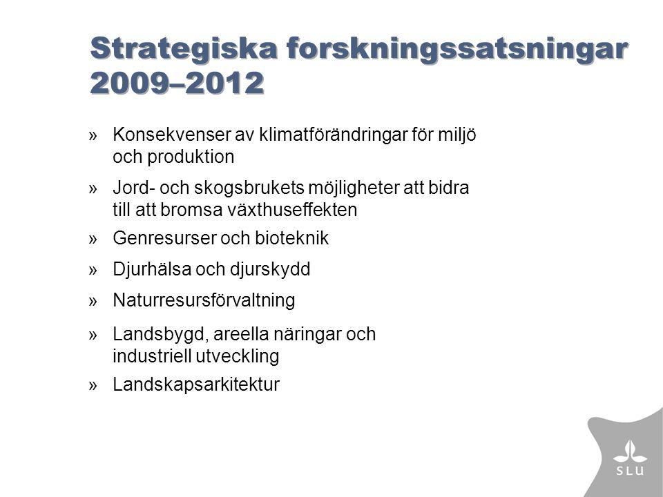 Strategiska forskningssatsningar 2009–2012 »Konsekvenser av klimatförändringar för miljö och produktion »Jord- och skogsbrukets möjligheter att bidra till att bromsa växthuseffekten »Genresurser och bioteknik »Djurhälsa och djurskydd »Naturresursförvaltning »Landsbygd, areella näringar och industriell utveckling »Landskapsarkitektur