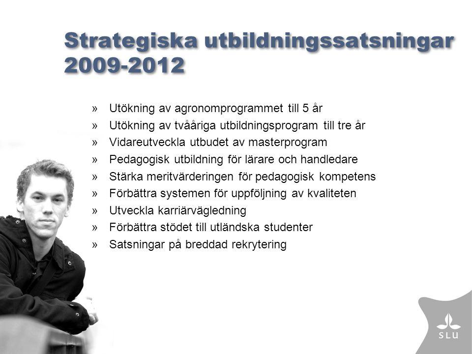 Strategiska utbildningssatsningar 2009-2012 »Utökning av agronomprogrammet till 5 år »Utökning av tvååriga utbildningsprogram till tre år »Vidareutveckla utbudet av masterprogram »Pedagogisk utbildning för lärare och handledare »Stärka meritvärderingen för pedagogisk kompetens »Förbättra systemen för uppföljning av kvaliteten »Utveckla karriärvägledning »Förbättra stödet till utländska studenter »Satsningar på breddad rekrytering