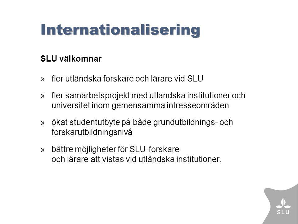 Internationalisering SLU välkomnar »fler utländska forskare och lärare vid SLU »fler samarbetsprojekt med utländska institutioner och universitet inom gemensamma intresseområden »ökat studentutbyte på både grundutbildnings- och forskarutbildningsnivå »bättre möjligheter för SLU-forskare och lärare att vistas vid utländska institutioner.