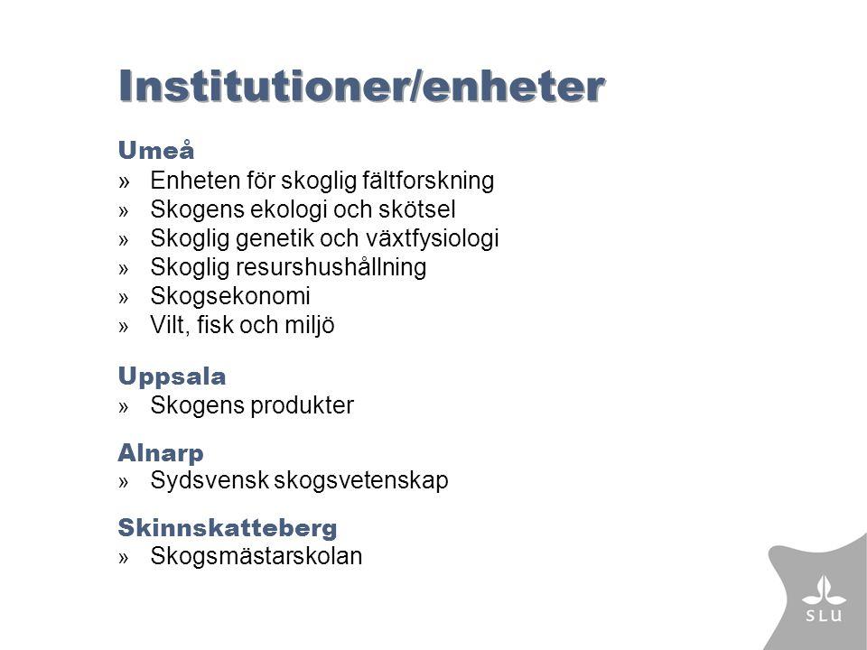 Institutioner/enheter Umeå »Enheten för skoglig fältforskning » Skogens ekologi och skötsel » Skoglig genetik och växtfysiologi » Skoglig resurshushållning » Skogsekonomi » Vilt, fisk och miljö Uppsala » Skogens produkter Alnarp » Sydsvensk skogsvetenskap Skinnskatteberg » Skogsmästarskolan