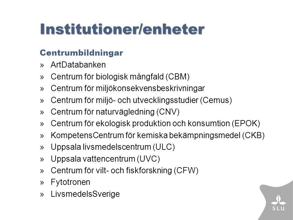 Institutioner/enheter Centrumbildningar »ArtDatabanken »Centrum för biologisk mångfald (CBM) »Centrum för miljökonsekvensbeskrivningar »Centrum för miljö- och utvecklingsstudier (Cemus) »Centrum för naturvägledning (CNV) »Centrum för ekologisk produktion och konsumtion (EPOK) »KompetensCentrum för kemiska bekämpningsmedel (CKB) »Uppsala livsmedelscentrum (ULC) »Uppsala vattencentrum (UVC) »Centrum för vilt- och fiskforskning (CFW) »Fytotronen »LivsmedelsSverige