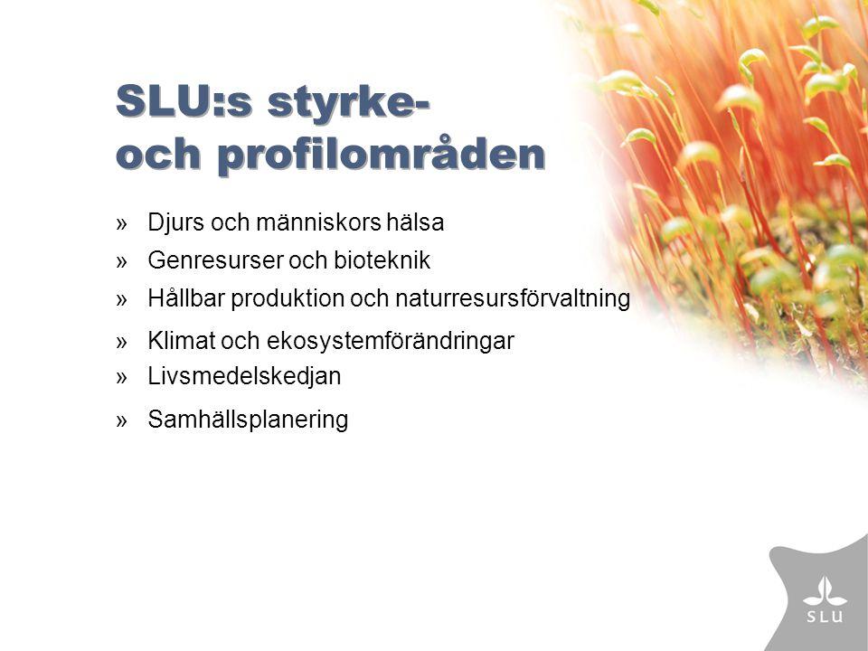 SLU:s styrke- och profilområden »Djurs och människors hälsa » Genresurser och bioteknik » Hållbar produktion och naturresursförvaltning » Klimat och ekosystemförändringar » Livsmedelskedjan » Samhällsplanering