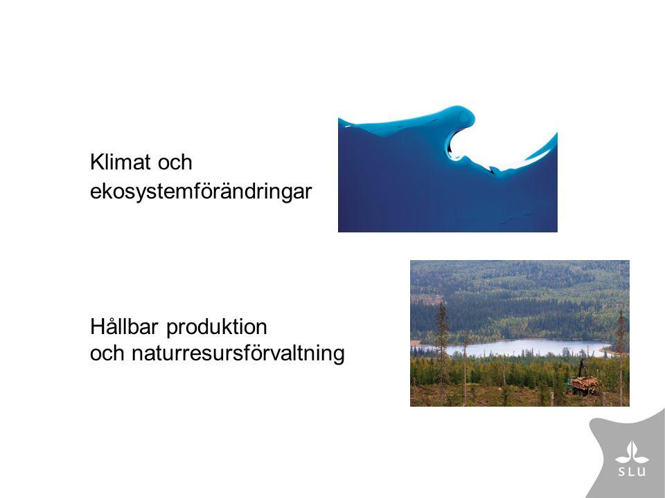 Klimat och ekosystemförändringar Hållbar produktion och naturresursförvaltning
