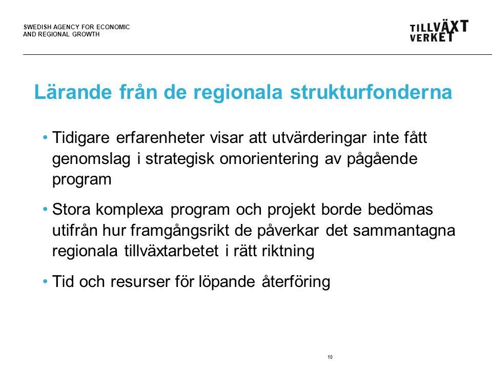SWEDISH AGENCY FOR ECONOMIC AND REGIONAL GROWTH 10 Lärande från de regionala strukturfonderna Tidigare erfarenheter visar att utvärderingar inte fått genomslag i strategisk omorientering av pågående program Stora komplexa program och projekt borde bedömas utifrån hur framgångsrikt de påverkar det sammantagna regionala tillväxtarbetet i rätt riktning Tid och resurser för löpande återföring