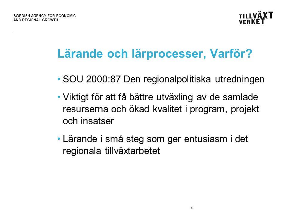 SWEDISH AGENCY FOR ECONOMIC AND REGIONAL GROWTH 8 Lärande och lärprocesser, Varför? SOU 2000:87 Den regionalpolitiska utredningen Viktigt för att få b