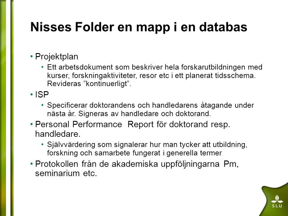 Nisses Folder en mapp i en databas Projektplan Ett arbetsdokument som beskriver hela forskarutbildningen med kurser, forskningaktiviteter, resor etc i ett planerat tidsschema.
