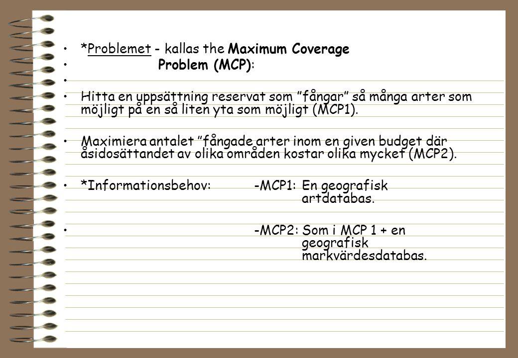 """*Problemet - kallas the Maximum Coverage Problem (MCP): Hitta en uppsättning reservat som """"fångar"""" så många arter som möjligt på en så liten yta som m"""