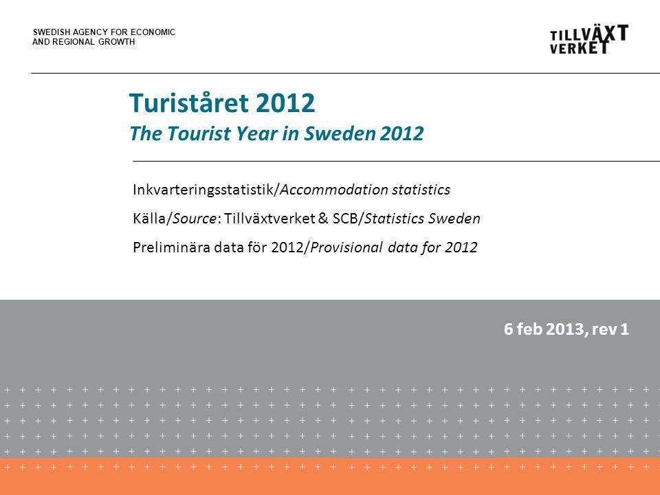 SWEDISH AGENCY FOR ECONOMIC AND REGIONAL GROWTH Turiståret 2012 The Tourist Year in Sweden 2012 Inkvarteringsstatistik/Accommodation statistics Källa/Source: Tillväxtverket & SCB/Statistics Sweden Preliminära data för 2012/Provisional data for 2012 6 feb 2013, rev 1