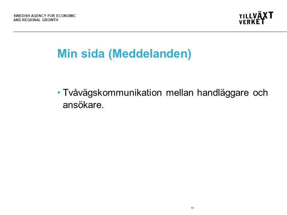 SWEDISH AGENCY FOR ECONOMIC AND REGIONAL GROWTH 11 Min sida (Meddelanden) Tvåvägskommunikation mellan handläggare och ansökare.