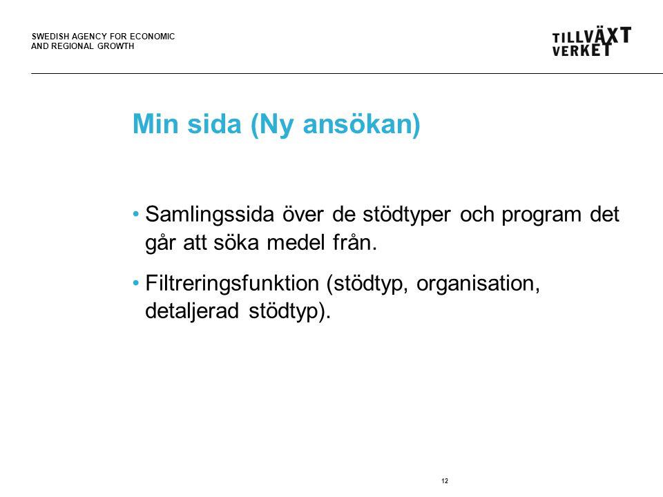 SWEDISH AGENCY FOR ECONOMIC AND REGIONAL GROWTH 12 Min sida (Ny ansökan) Samlingssida över de stödtyper och program det går att söka medel från.