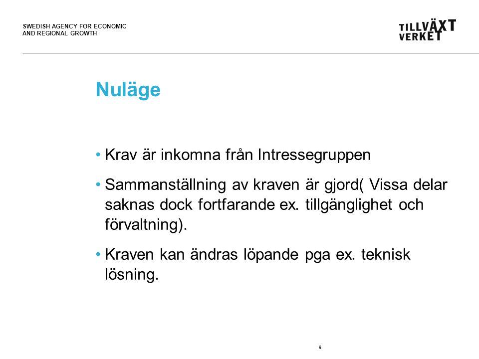 SWEDISH AGENCY FOR ECONOMIC AND REGIONAL GROWTH 6 Nuläge Krav är inkomna från Intressegruppen Sammanställning av kraven är gjord( Vissa delar saknas dock fortfarande ex.
