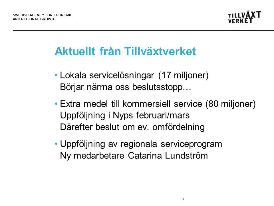 SWEDISH AGENCY FOR ECONOMIC AND REGIONAL GROWTH Aktuellt från Tillväxtverket Lokala servicelösningar (17 miljoner) Börjar närma oss beslutsstopp… Extra medel till kommersiell service (80 miljoner) Uppföljning i Nyps februari/mars Därefter beslut om ev.