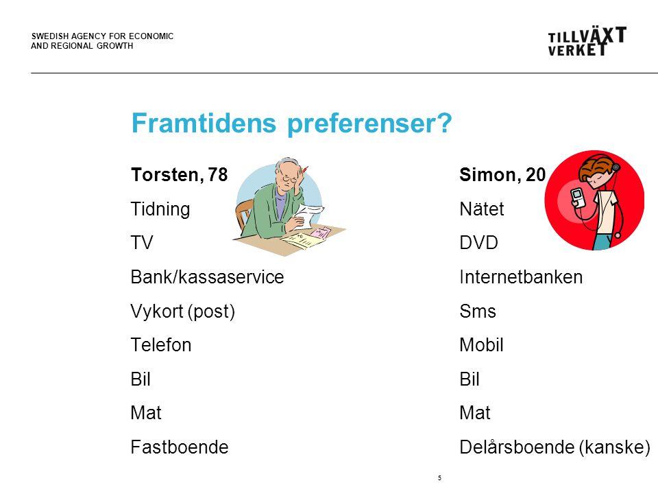 SWEDISH AGENCY FOR ECONOMIC AND REGIONAL GROWTH 5 Framtidens preferenser.