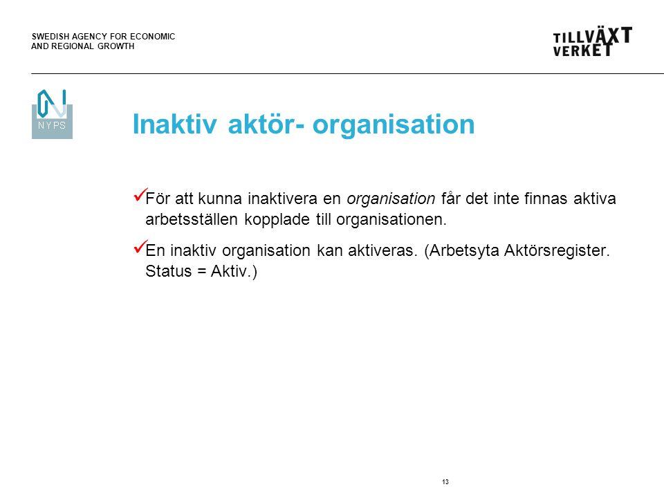 SWEDISH AGENCY FOR ECONOMIC AND REGIONAL GROWTH 13 För att kunna inaktivera en organisation får det inte finnas aktiva arbetsställen kopplade till org