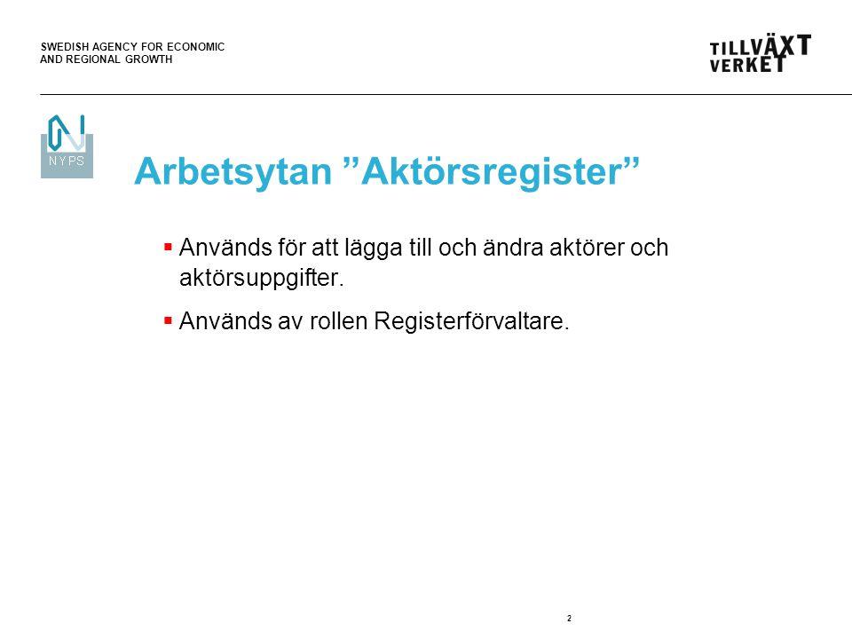 """SWEDISH AGENCY FOR ECONOMIC AND REGIONAL GROWTH 2 Arbetsytan """"Aktörsregister""""  Används för att lägga till och ändra aktörer och aktörsuppgifter.  An"""