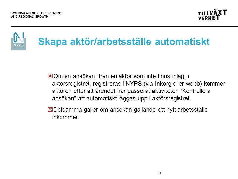 SWEDISH AGENCY FOR ECONOMIC AND REGIONAL GROWTH 20  Om en ansökan, från en aktör som inte finns inlagt i aktörsregistret, registreras i NYPS (via Ink