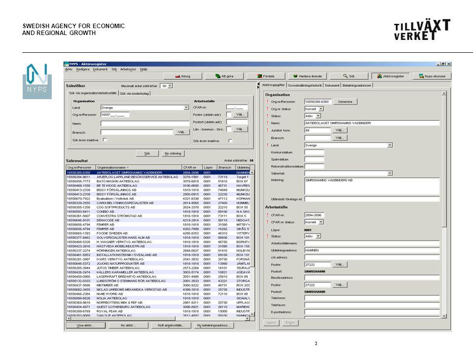 SWEDISH AGENCY FOR ECONOMIC AND REGIONAL GROWTH 4 Förekomst av aktörer i Nyps… Aktörer i NYPS förekommer :  På arbetsytan Sök -Möjlighet att söka fram och titta på aktörsinformation  På arbetsytan Aktörsregister -Möjlighet att söka fram och titta/ändra på aktörsinformation -Möjlighet att skapa aktörer  Från arbetsytan Inkorg -Kan du söka fram en aktör och koppla en ansökan/annat dokument till aktören