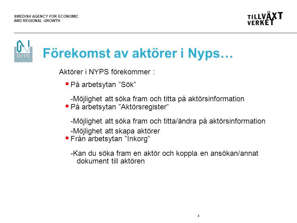 """SWEDISH AGENCY FOR ECONOMIC AND REGIONAL GROWTH 4 Förekomst av aktörer i Nyps… Aktörer i NYPS förekommer :  På arbetsytan """"Sök"""" -Möjlighet att söka f"""