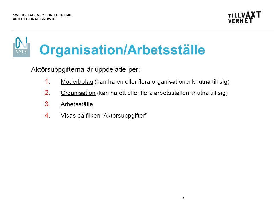 SWEDISH AGENCY FOR ECONOMIC AND REGIONAL GROWTH 6 Aktörsuppgifter