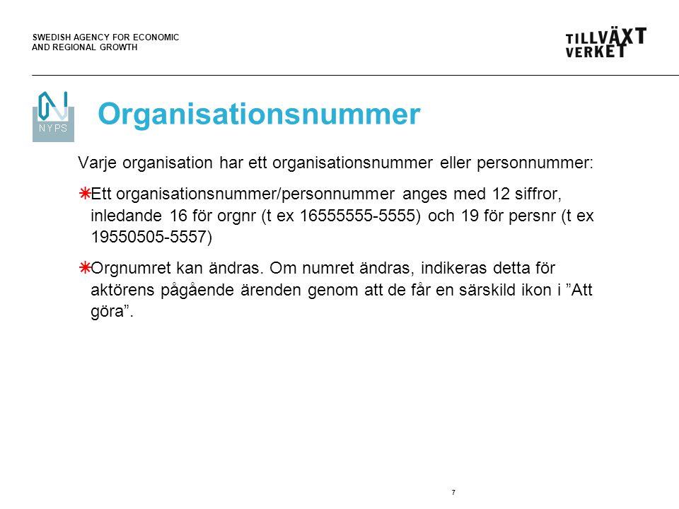 SWEDISH AGENCY FOR ECONOMIC AND REGIONAL GROWTH 8 Definition av utländsk aktör:  En aktör vars organisationsnummer börjar på 77 (dvs är skapat av NYPS) och där landet är satt till något annat än Sverige.