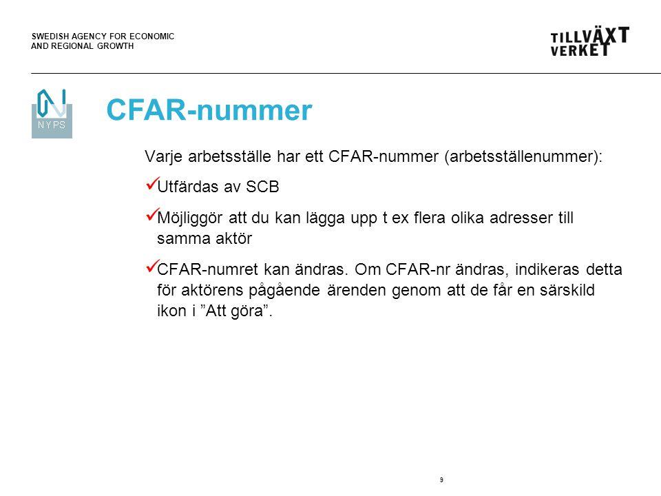 SWEDISH AGENCY FOR ECONOMIC AND REGIONAL GROWTH 9 Varje arbetsställe har ett CFAR-nummer (arbetsställenummer): Utfärdas av SCB Möjliggör att du kan lä