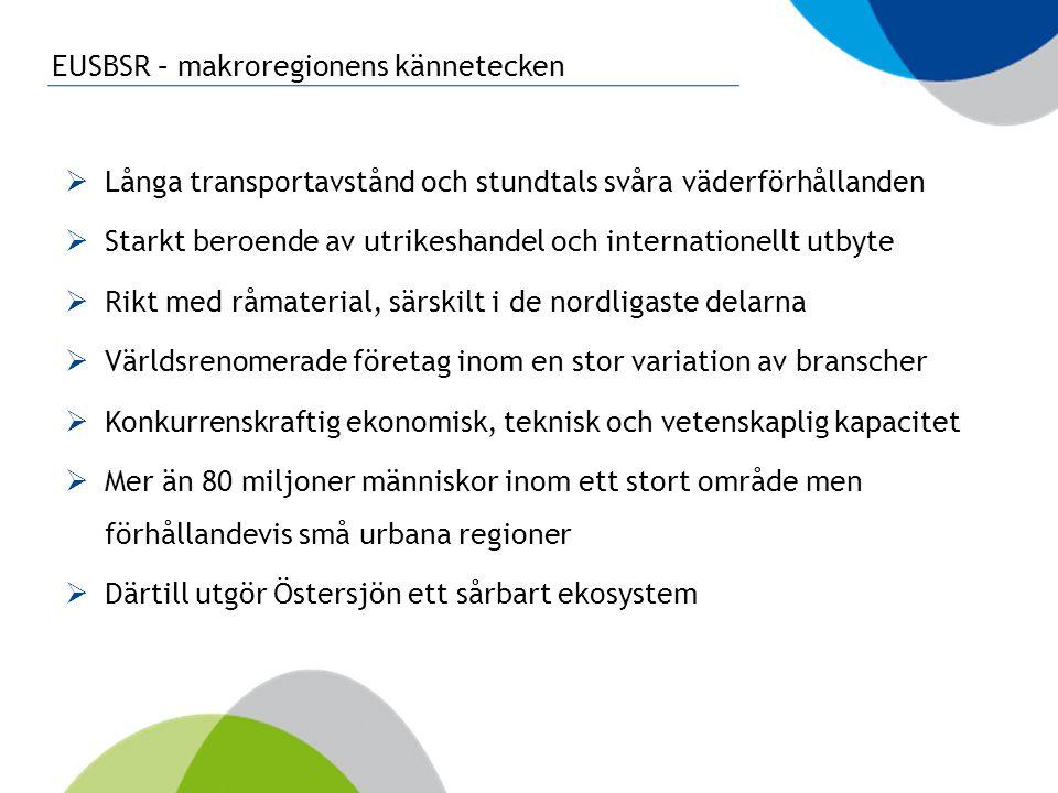EUSBSR – makroregionens kännetecken  Långa transportavstånd och stundtals svåra väderförhållanden  Starkt beroende av utrikeshandel och internatione