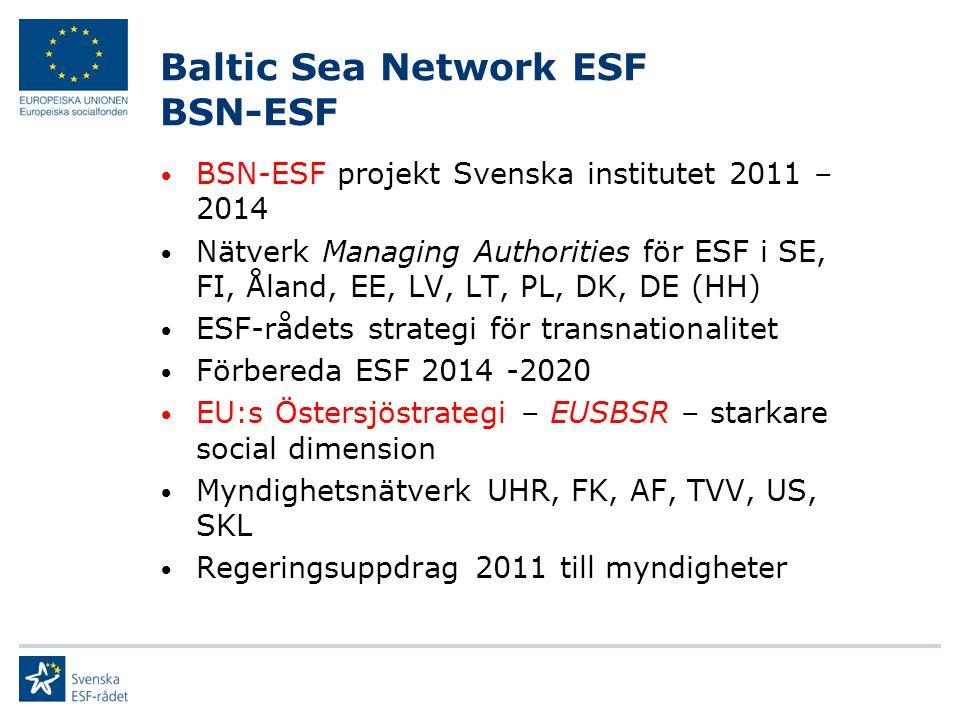 Baltic Sea Network ESF BSN-ESF BSN-ESF projekt Svenska institutet 2011 – 2014 Nätverk Managing Authorities för ESF i SE, FI, Åland, EE, LV, LT, PL, DK
