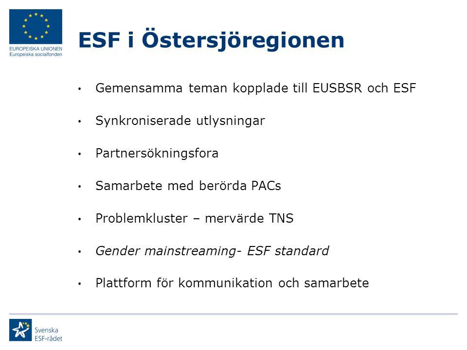 ESF i Östersjöregionen Fondsamverkan ESF-ERUF Samverkan för finansiering av projektinitiering ESF - Svenska institutet ESF-finansierade Flaggskeppsprojekt Exempel: School to Work (SKL – 30 partners) Förstärkt processtöd ESF (ERUF) Uppföljning/utvärdering
