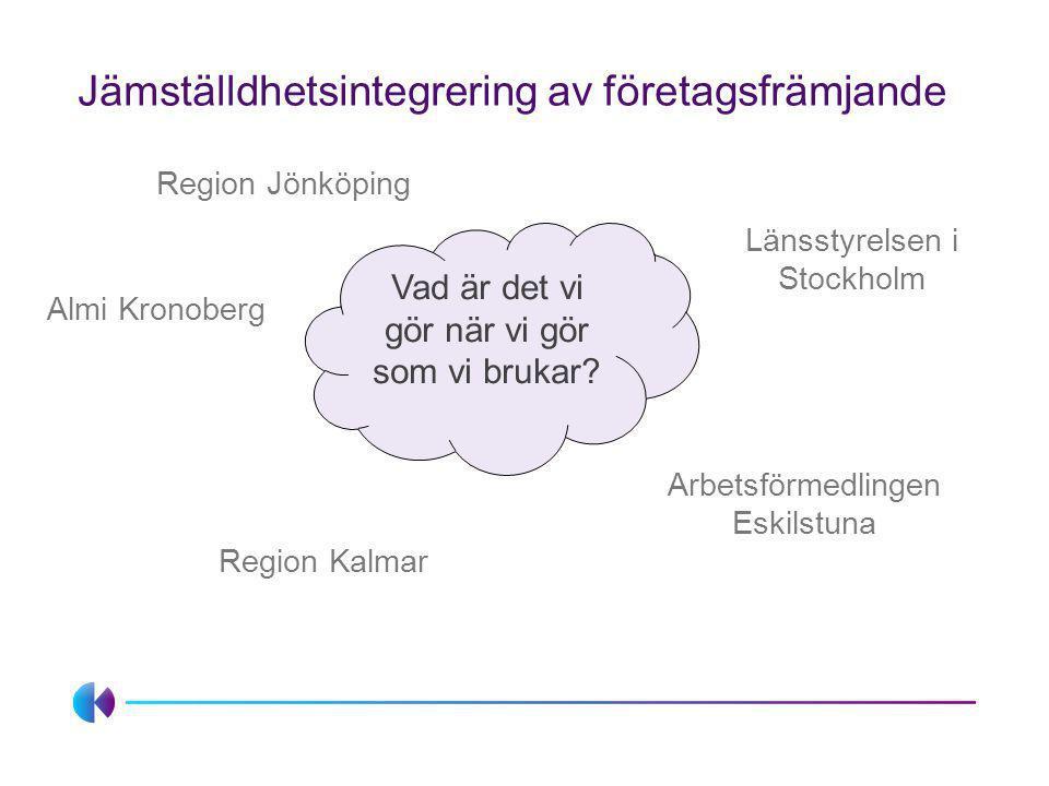 Jämställdhetsintegrering av företagsfrämjande Vad är det vi gör när vi gör som vi brukar? Region Jönköping Länsstyrelsen i Stockholm Region Kalmar Alm