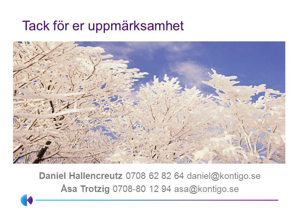 Tack för er uppmärksamhet Daniel Hallencreutz 0708 62 82 64 daniel@kontigo.se Åsa Trotzig 0708-80 12 94 asa@kontigo.se