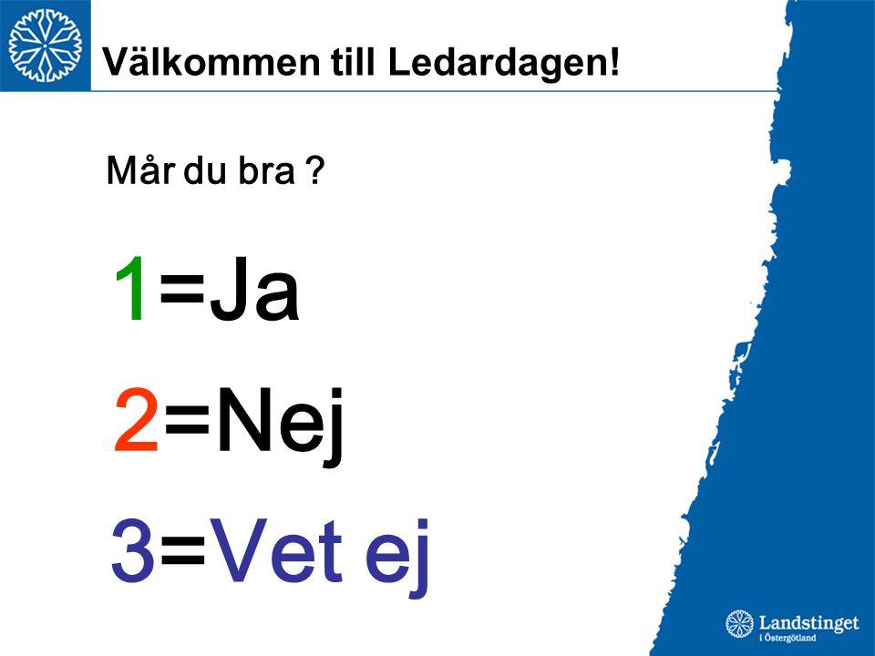 Välkommen till Ledardagen! 1=Ja 2=Nej 3=Vet ej Mår du bra ?