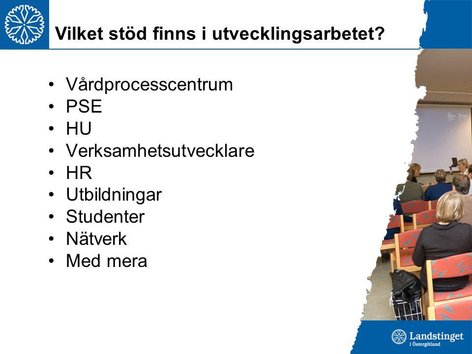 Vårdprocesscentrum PSE HU Verksamhetsutvecklare HR Utbildningar Studenter Nätverk Med mera Vilket stöd finns i utvecklingsarbetet?