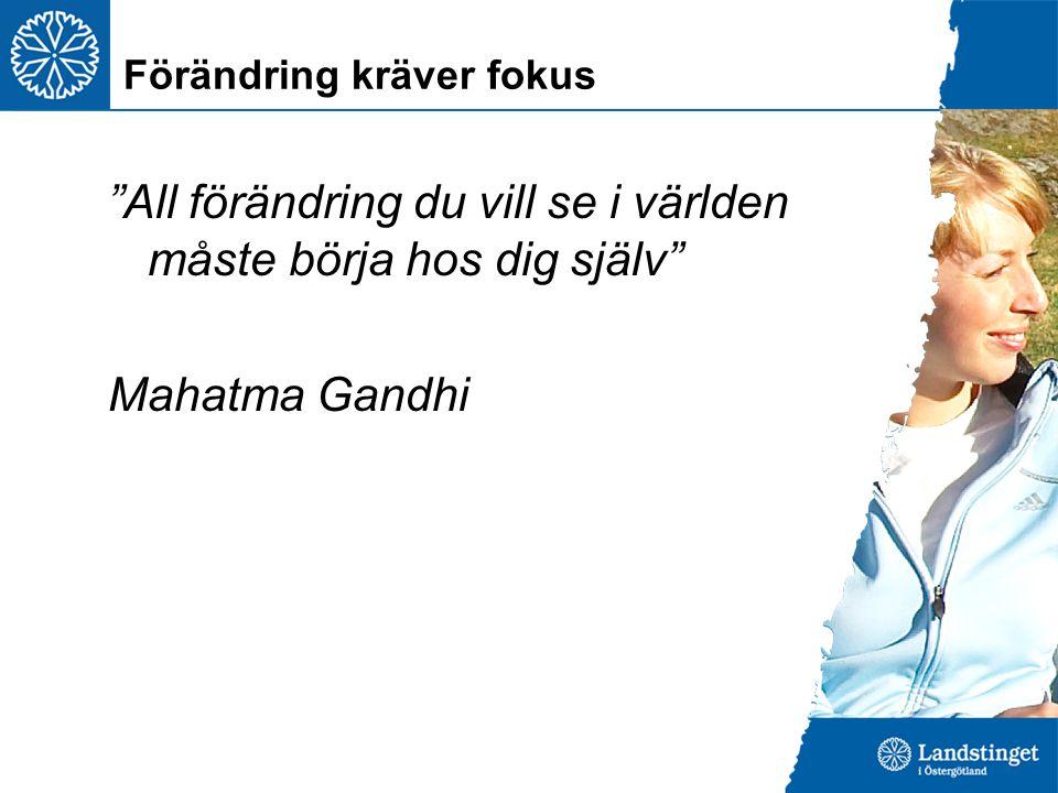 """""""All förändring du vill se i världen måste börja hos dig själv"""" Mahatma Gandhi Förändring kräver fokus"""