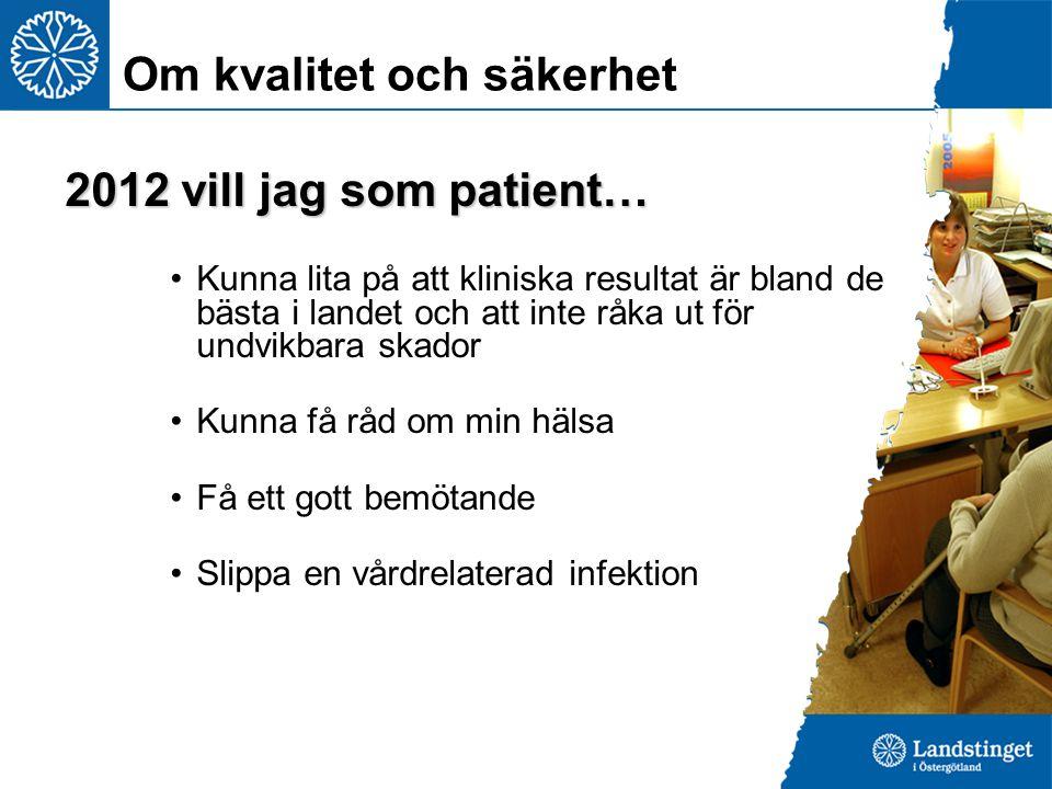 2012 vill jag som patient… Kunna lita på att kliniska resultat är bland de bästa i landet och att inte råka ut för undvikbara skador Kunna få råd om m