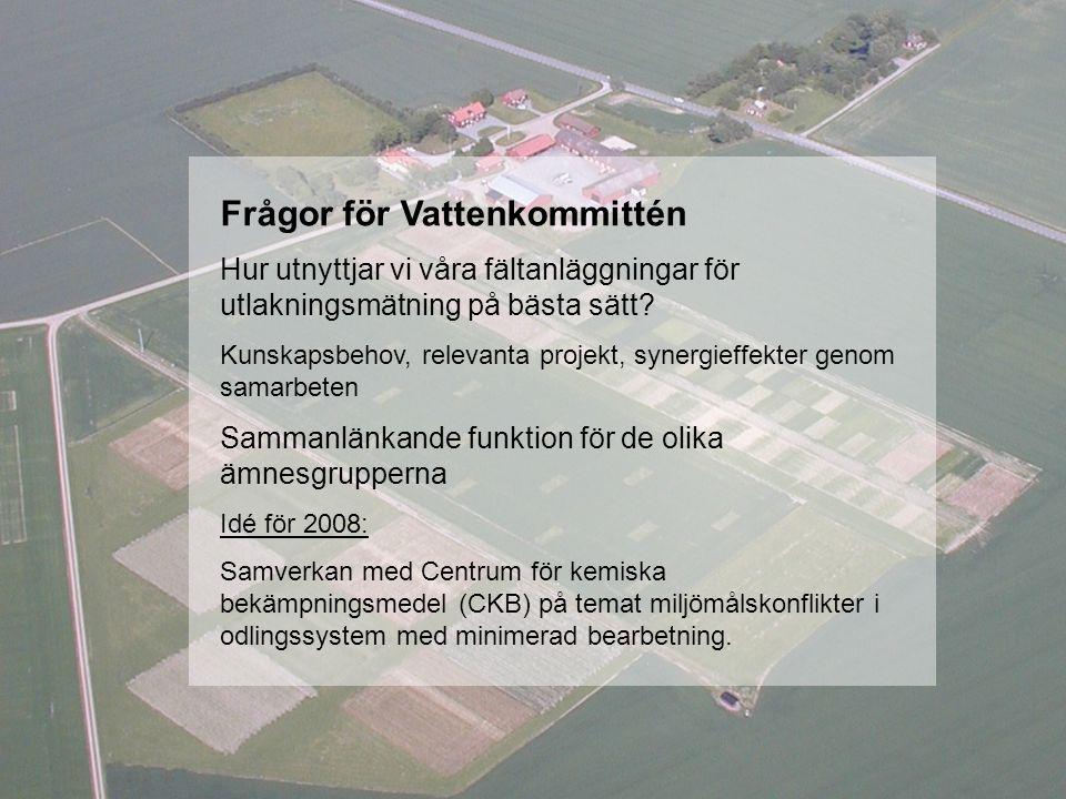 Frågor för Vattenkommittén Hur utnyttjar vi våra fältanläggningar för utlakningsmätning på bästa sätt.